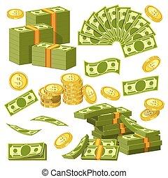 amontoados, dourado, pilhas, ícones, centavos, dinheiro, dólares, moedas, vetorial, banco