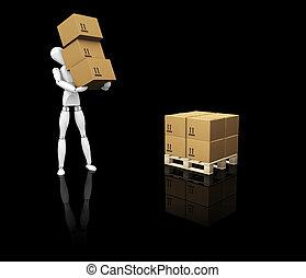 amontonar, cajas, hombre