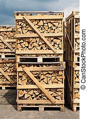 amontonar, madera, leña