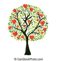 amor, árvore, com, corações, cartão valentine