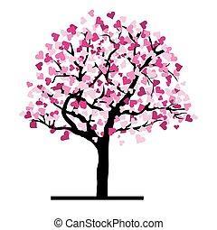 amor, árvore, corações