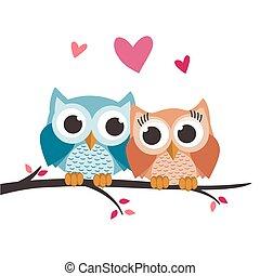 amor, árvore, corujas, valentine