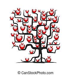 amor, árvore, desenho, corações, seu, vermelho