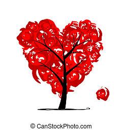 amor, árvore, forma coração, para, seu, desenho