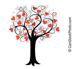 amor, árvore, vermelho, corações