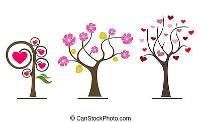 amor, árvores, valentine, símbolos, icons., casório, ou, dia