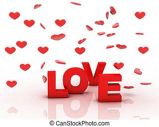 amor, é, em, 3d, letras, com, coração vermelho, ligado, um, branca