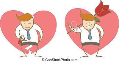 amor, éxito, carácter, falle, caricatura, hombre