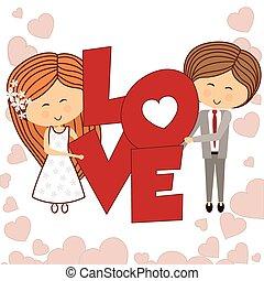 amor, ícone, desenho