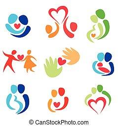 amor, ícones, jogo, par, vetorial, feliz