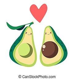 amor, abacate, metades, vetorial, ilustração, dois