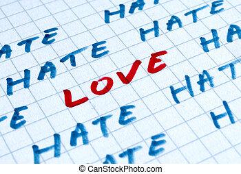 amor, abajo, el, yo, odio, usted, words., foto, concepto