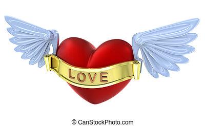 amor, aislado, rojo, heart., 3d, vuelo