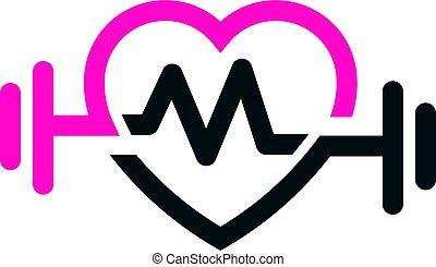 amor, ajustar, com, pulso, logotipo, vetorial, carta m
