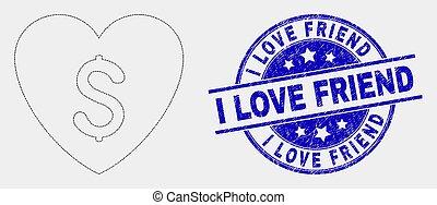 amor, angústia, pontilhado, preço, vetorial, selo, amigo, ícone
