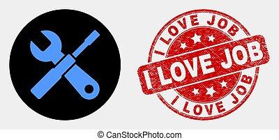 amor, angústia, selo, configurar, trabalho, vetorial, selo, ferramentas, ícone