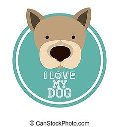 amor, animal estimação, desenho
