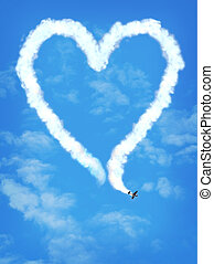 amor, avião