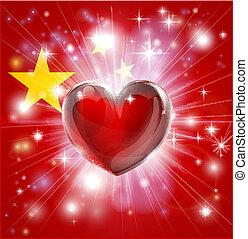 amor, bandeira china, coração, fundo