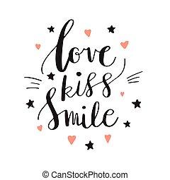 amor, beijo, sorrizo, decorativo, letras, corações, e, stars., mão, desenhado, lettering, inspiração, quote., inscription., fonte, motivational, poster.