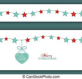 amor, borda, presente natal, heart., estrela
