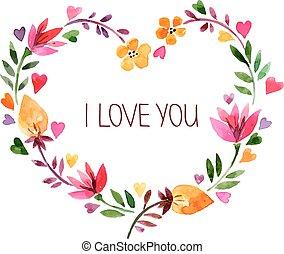 amor, bouquet., aquarela, vect, floral, dia namorado, cartão