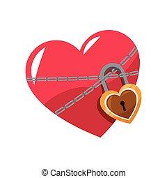 amor, brillante, corazón, rosa, cerradura, cadena