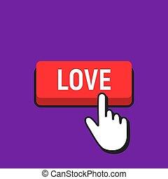 amor, button., mano, cursor, ratón hace clic