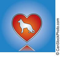 amor, cão, conceito, ilustração