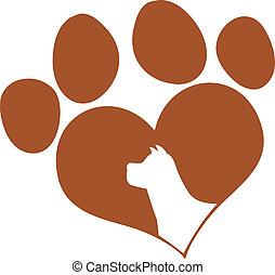 amor, cabeça, impressão, cachorro marrom, pata