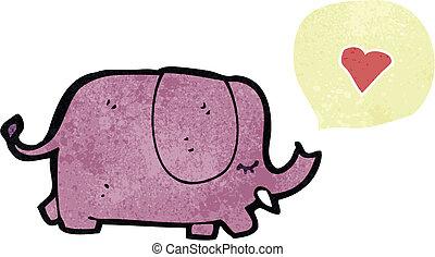 amor, caricatura, elefante