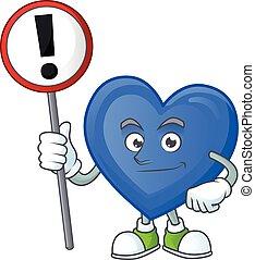 amor, caricatura, sinal, trazer, seu, azul, mascote, mão