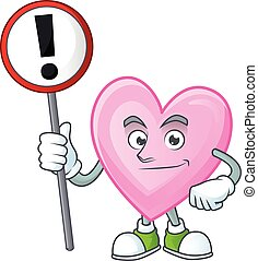 amor, caricatura, sinal, trazer, seu, mascote, mão, cor-de-rosa