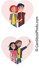 amor, cartaz, levando, ilustração, vetorial, selfie, homem