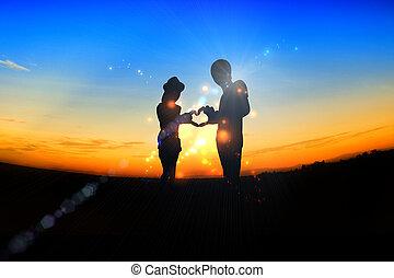 amor, cena, romanticos, dia