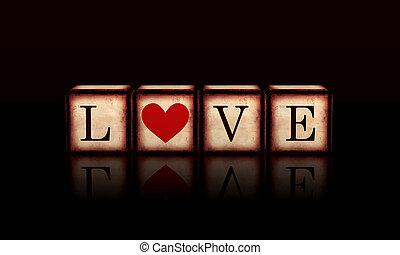 amor, com, coração vermelho, em, 3d, madeira, cubos