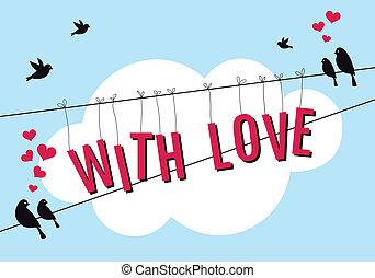 amor, com, pássaros, em, céu azul, vetorial