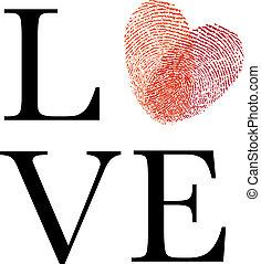 amor, com, vermelho, impressão digital, coração