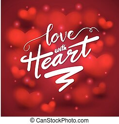 amor, con, corazón, letras, en, corazón, fondo.