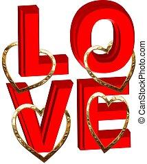 amor, con, oro, corazones