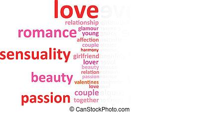 amor, conceito, palavra, nuvem