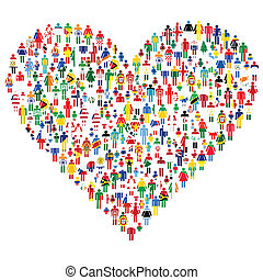 amor, concept;, coração, feito, de, pessoas., pessoas, é, feito, de, tudo, bandeiras, de, a, world.