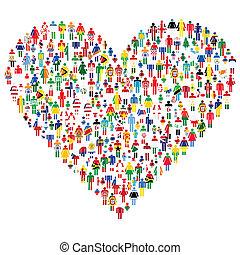 amor, concept;, corazón, hecho, de, personas., gente, ser, hecho, de, todos, banderas, de, el, world.