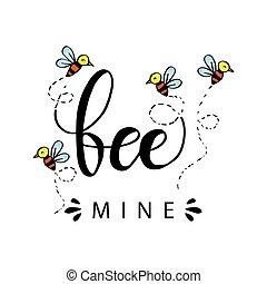 amor, concept., mina, abeja, mano, lettering.