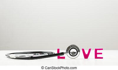 amor, concepto, con, un, estetoscopio