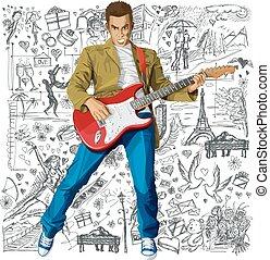 amor, contra, fundo, homem, guitarra