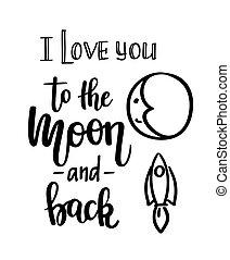 amor, costas, lua, vetorial, tu, caligrafia
