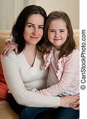 amor, -, criança mãe, retrato