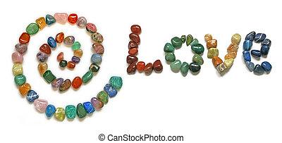 amor, cristais, espiral