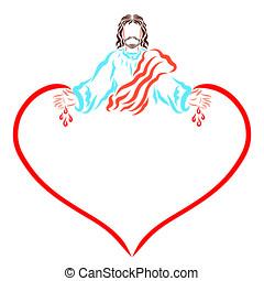 amor, cristo, llamadas, gente, redentor, salvación